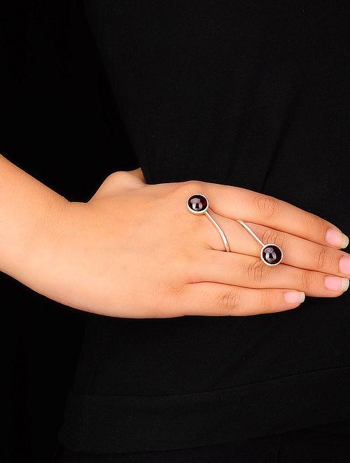 Garnet-Adjustable Silver Ring