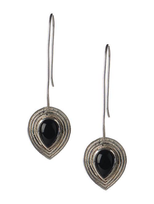 Pair of Black Onyx Silver Earrings