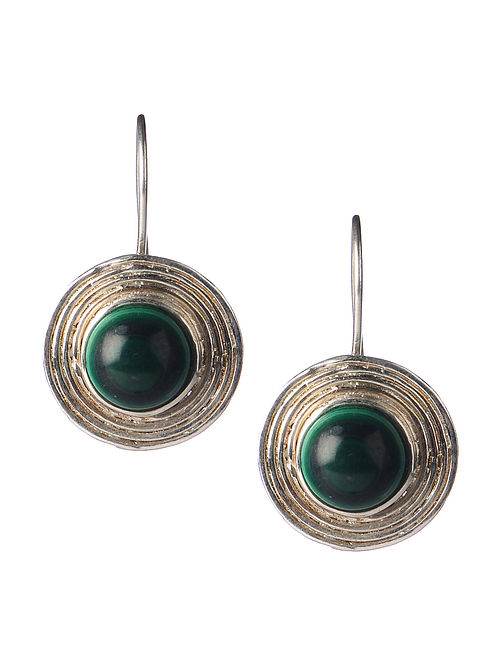 Pair of Malachite Silver Earrings