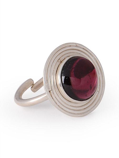 Dyed Garnet Silver Stud Adjustable Ring