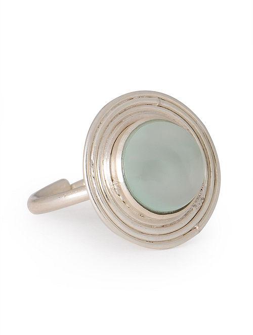 Prehnite Silver Stud Adjustable Ring