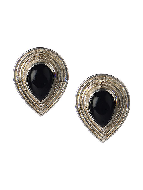Pair of Black Onyx Silver Stud Earrings