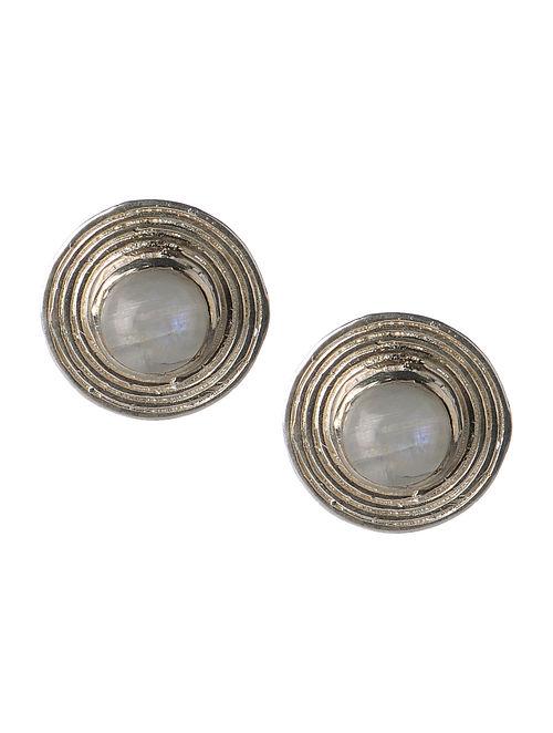 Rainbow Moonstone Silver Stud Earrings