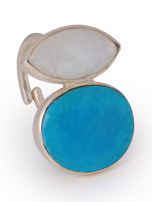 Howlite-Rainbow Moonstone Silver Adjustable Ring
