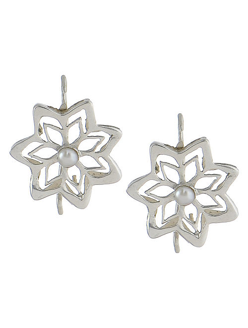 Flower Fretwork Silver Earrings