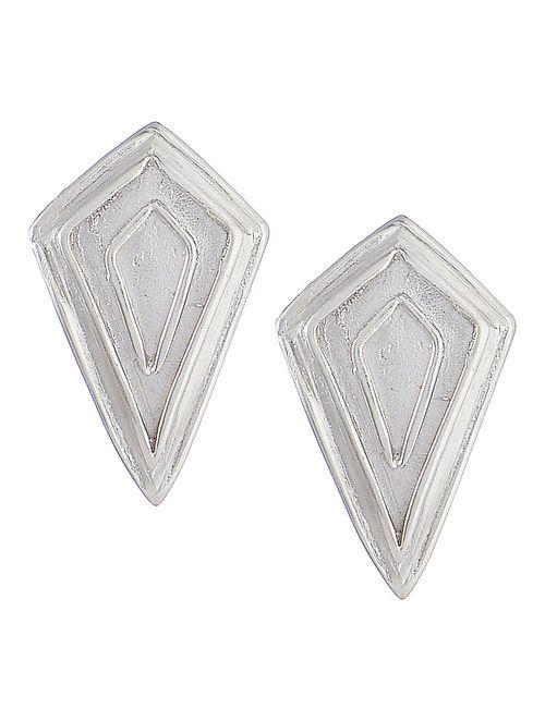 Geometric Silver Stud Earrings