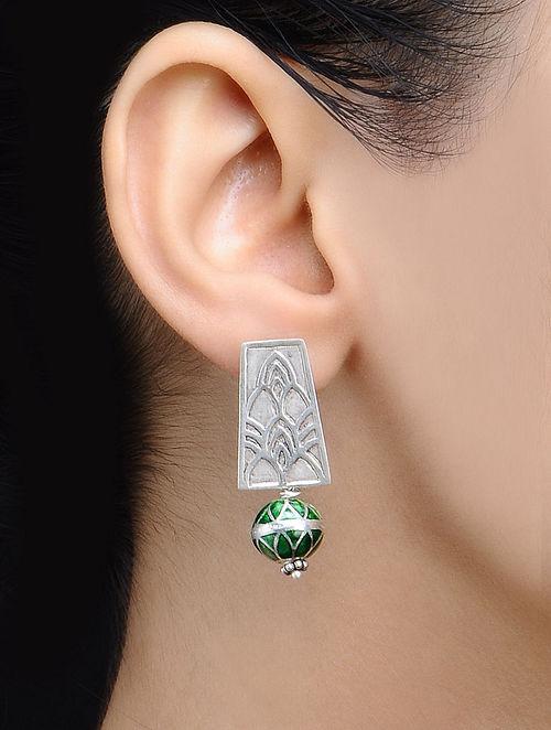 Embossed Meenakari Silver Earrings