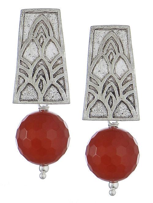 Embossed Red Onyx Silver Earrings