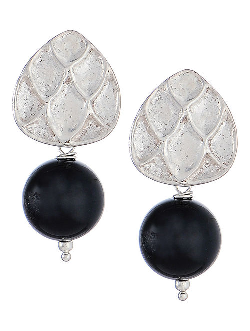 Engraved Black Onyx Silver Earrings