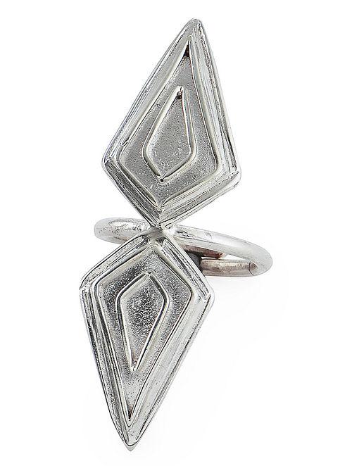 Geometric Adjustable Silver Ring
