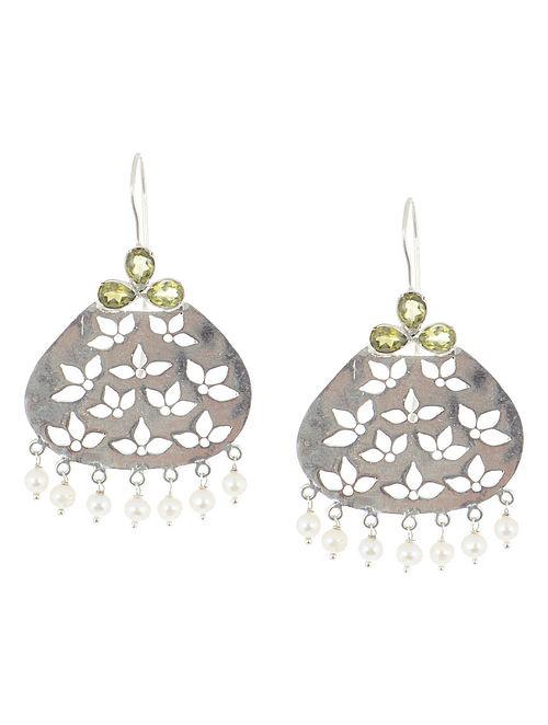 Fretwork Peridot Silver Earrings