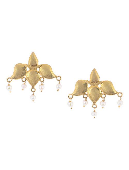 Floral Pearl Silver Earrings