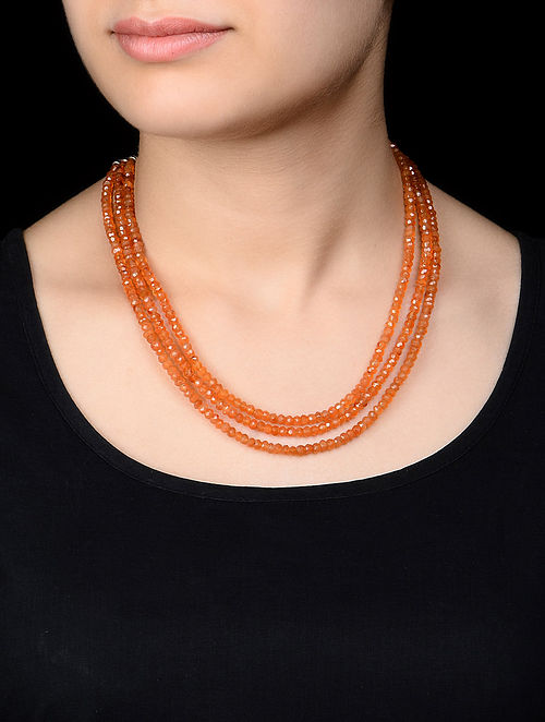 Carnelian Beaded Silver Necklace