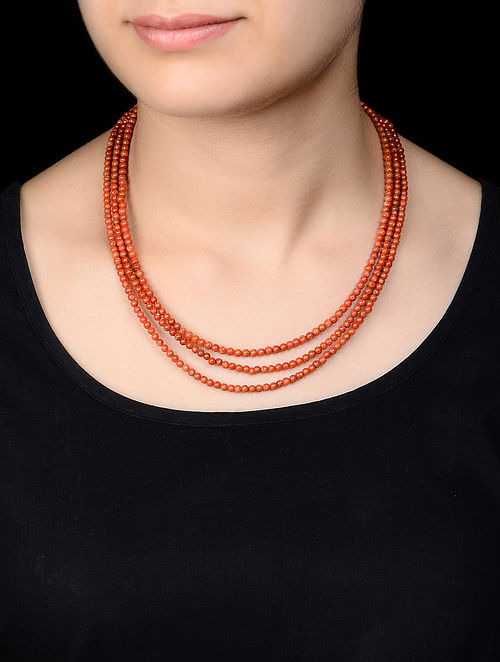 Three Strand Coral Silver Necklace