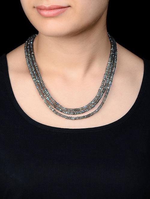 Three Strand Labradorite Silver Necklace