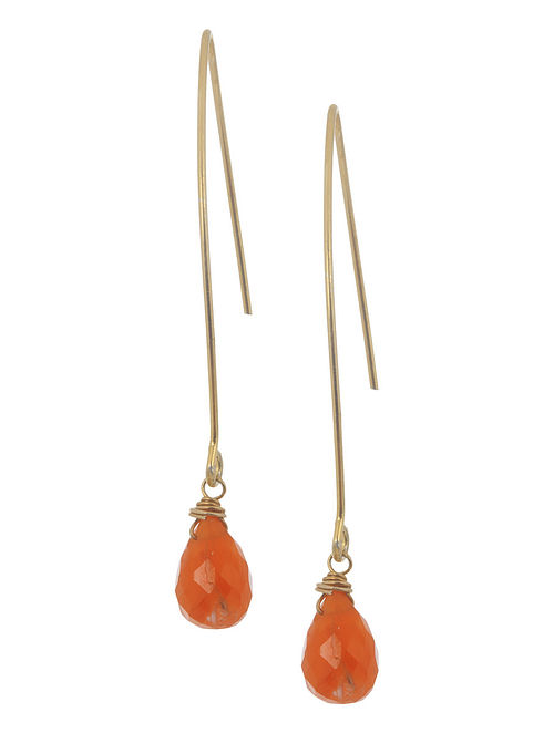 Carnelian Drop Silver Earrings by Benaazir