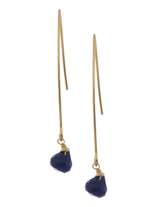 Lapis Lazuli Drop Silver Earrings by Benaazir