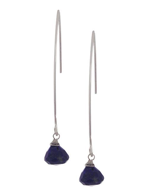 Lapis Lazuli Drop Silver Earrings by Benaazir