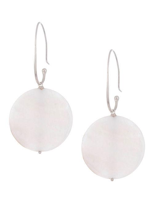 Mother Of Pearl Drop Silver Earrings by Benaazir