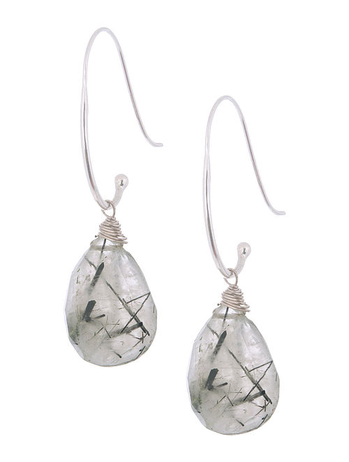 Rutilated Quartz Drop Silver Earrings by Benaazir