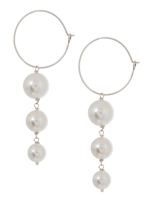 Pearl Hoop Silver Earrings by Benaazir