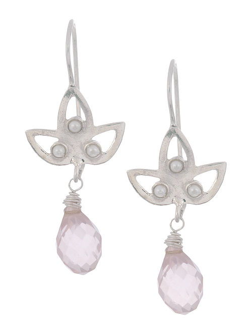 Rose Quartz Petal Silver Earrings by Benaazir