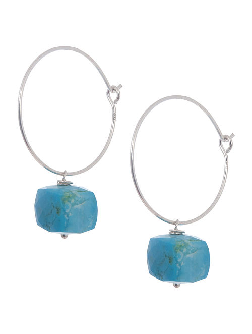 Turquoise Hoop Silver Earrings by Benaazir
