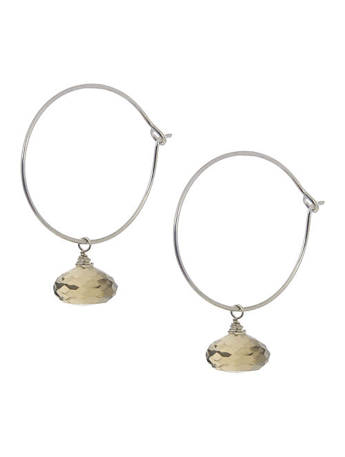 Citrine Hoop Silver Earrings by Benaazir