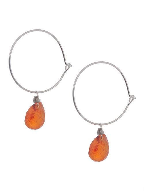 Carnelian Hoop Silver Earrings by Benaazir
