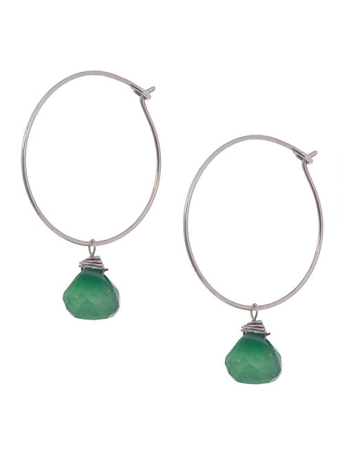 Green Onyx Hoop Silver Earrings by Benaazir
