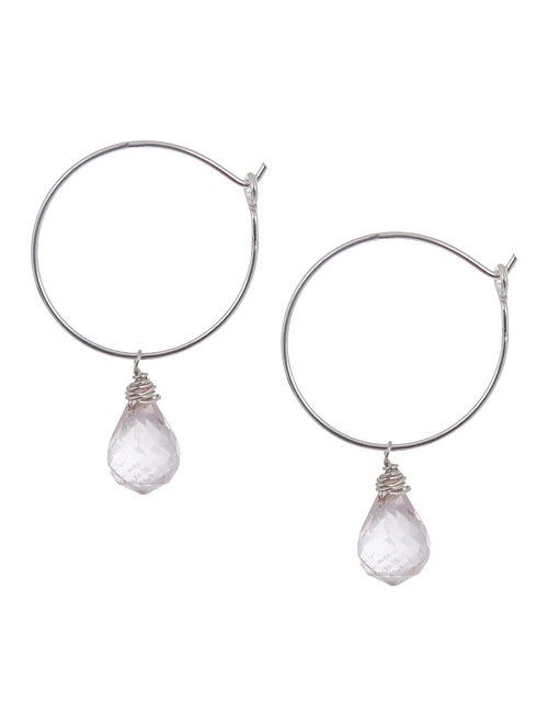 Rose Quartz Hoop Silver Earrings by Benaazir