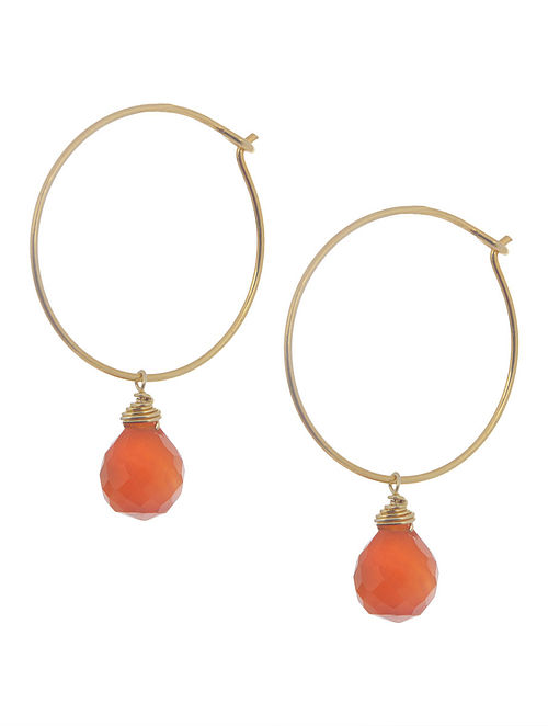 Carnelian Hoop Silver Earrings by Benaazir