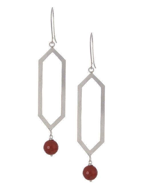 Red Onyx Geometric Silver Earrings by Benaazir