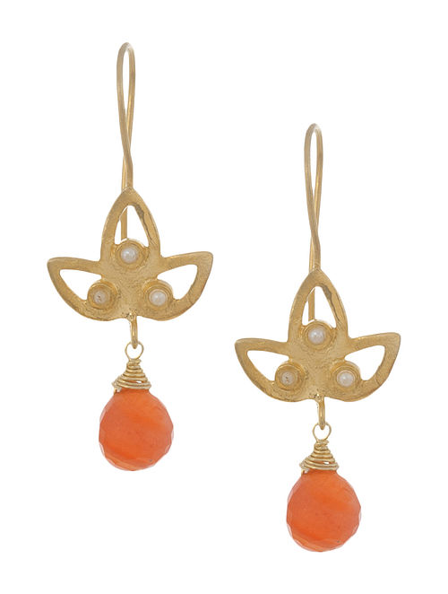 Carnelian Petal Silver Earrings by Benaazir