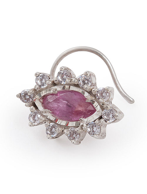 Classic Ruby Silver Nose Pin