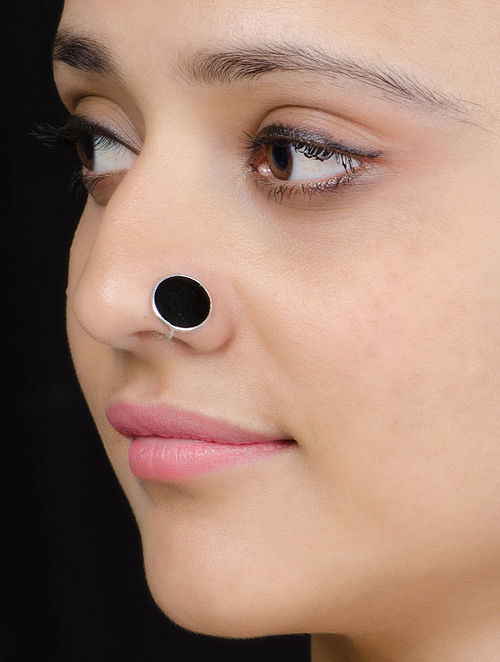 Black Enameled Silver Nose Clip
