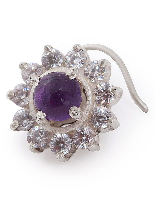 Floral Amethyst Silver Nose Pin