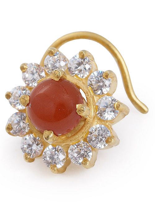 Floral Red Onyx Silver Nose Pin