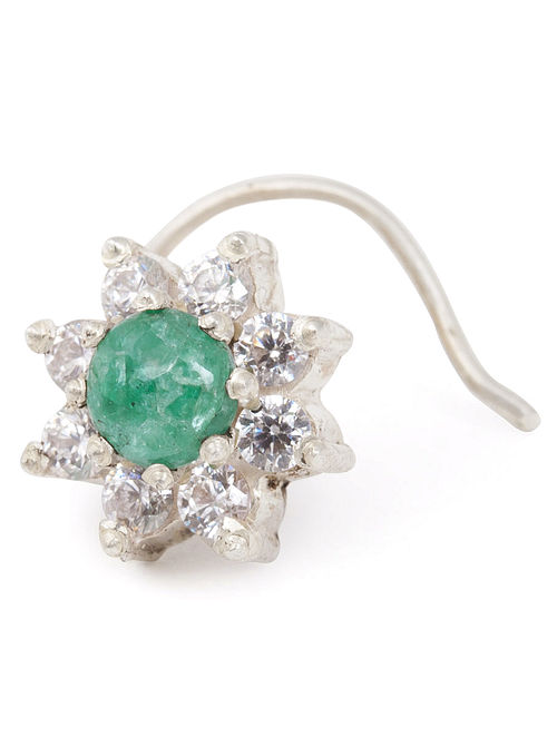Floral Emerald Silver Nose Pin