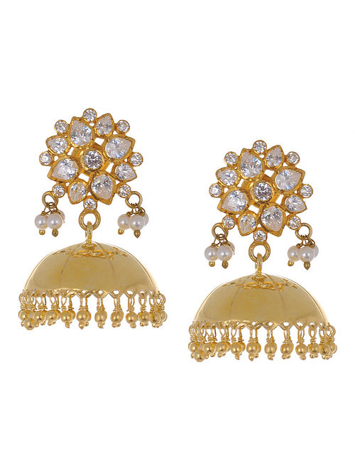 Ethno Floral Gold Tone Silver Pearl Drop Jhumkis