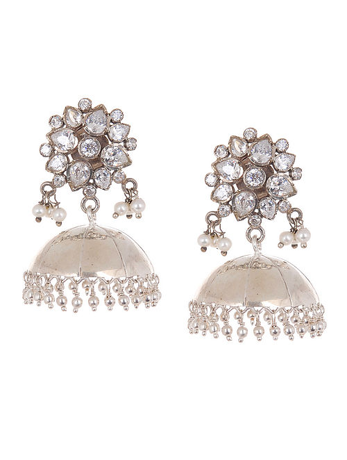 Ethno Floral Silver Pearl Drop Jhumkis with Zircon