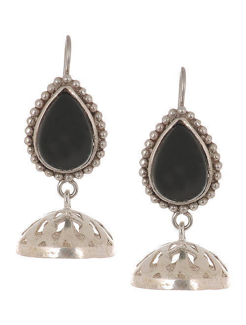 Classic Black Onyx Silver Drop Earrings