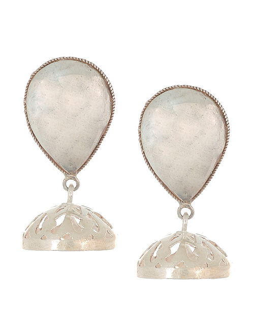 Classic Silver Drop Jhumkis