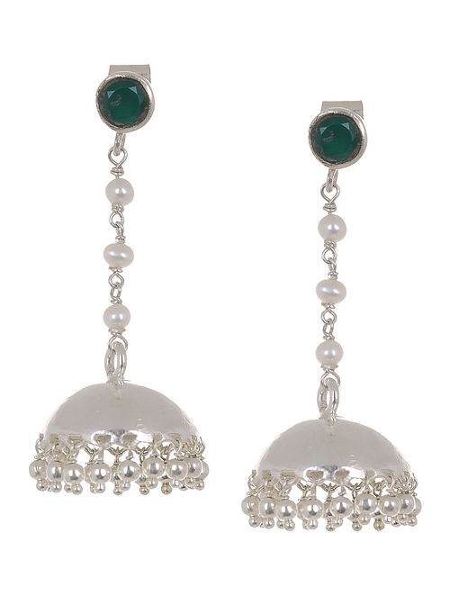 Ethno Green Onyx Silver Jhumkis with Pearls