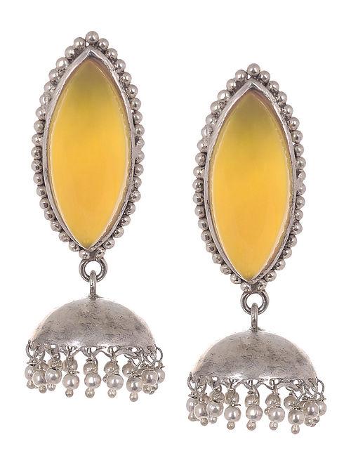 Classic Yellow Chalcedony Silver Jhumkis