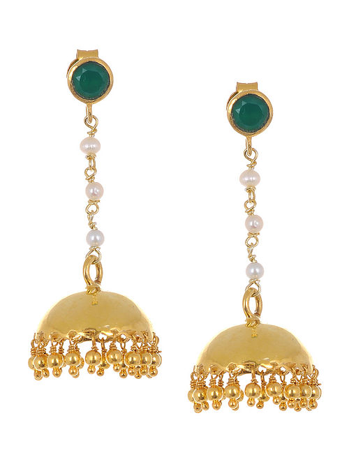 Ethno Green Onyx Gold Tone Silver Jhumkis with Pearls
