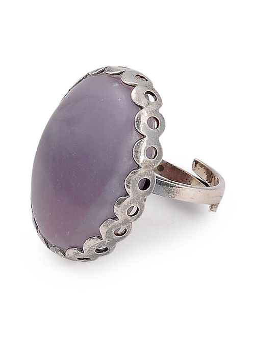Purple Jasper Silver Adjustable Ring