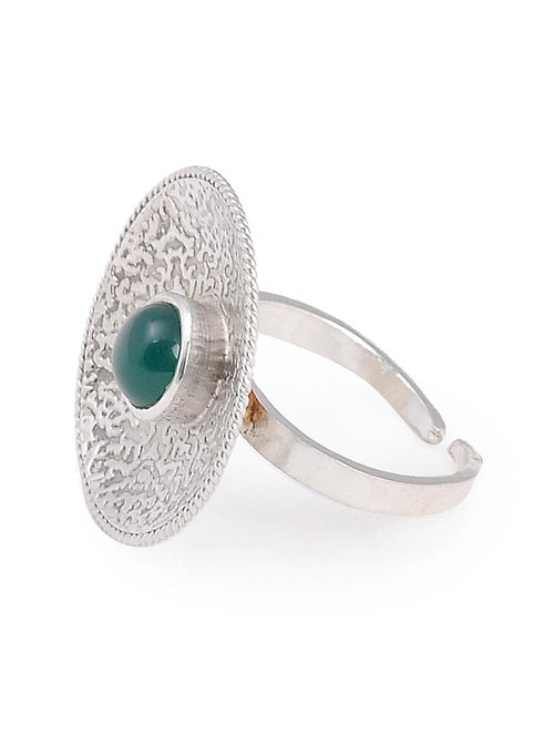 Green Onyx Textured Silver Adjustable Ring