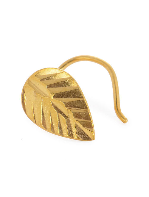 Leaf Gold-plated Silver Nose Pin