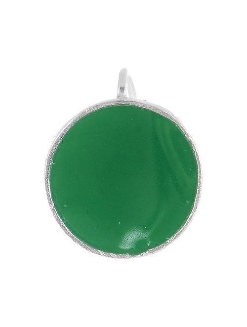 Circular Green Enameled Silver Nose Clip